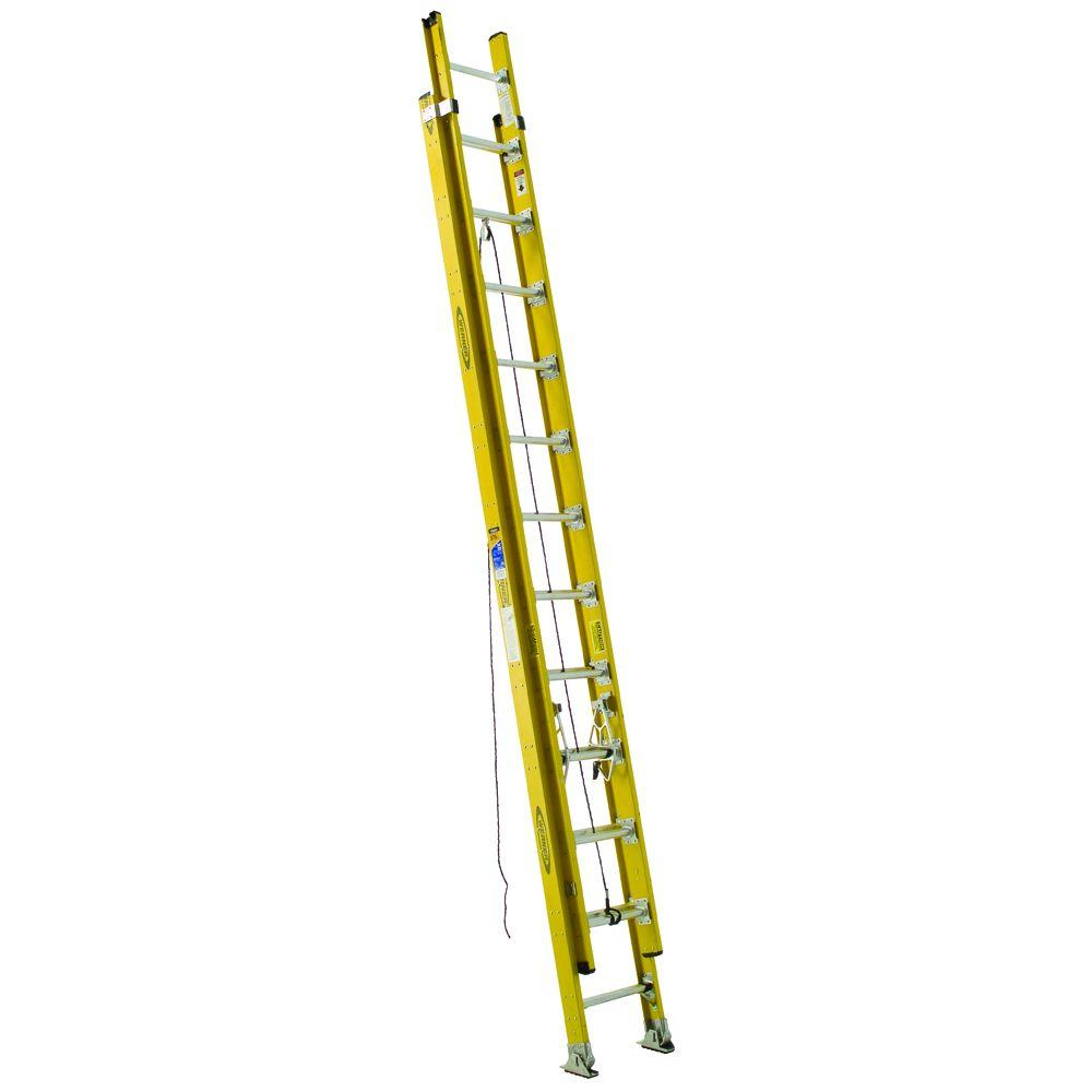 Werner 24 ft. Fiberglass D-Rung Extension Ladder with 375 lb. Load Capacity Type IAA Duty Rating