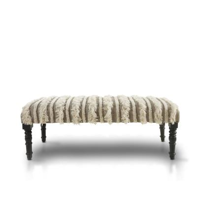 Trendy Cream Tufted Fringed Indoor Bench