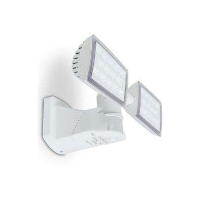 180-Degree White Motion Activated Outdoor Integrated LED Twin Head Security Flood Light