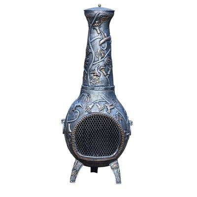 Hummingbird Cast Metal 53 in. Tall Chimenea with Built-in Handles Log Grate Spark Guard Screen on Stack and Door