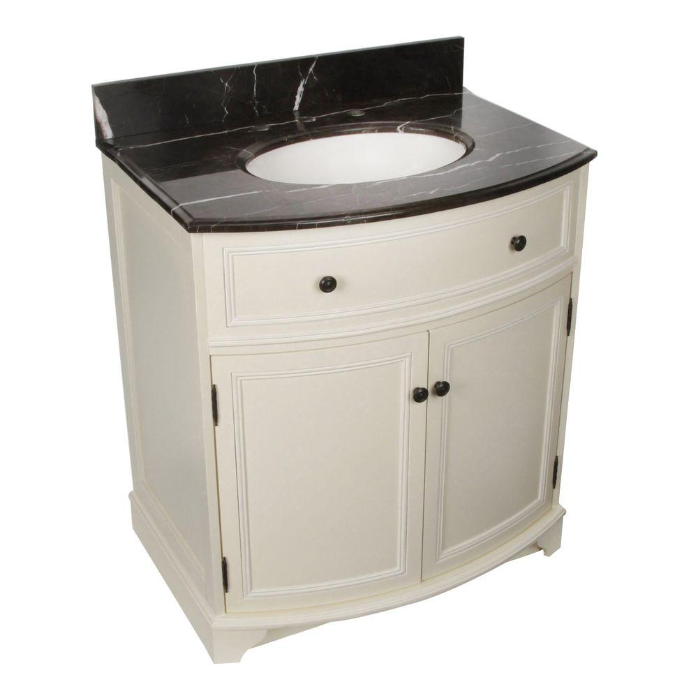 Foremost Arcadia 31-1/4 in. Vanity in Frost White with Marble Top in Dark Emperador and Sink in Biscuit-DISCONTINUED