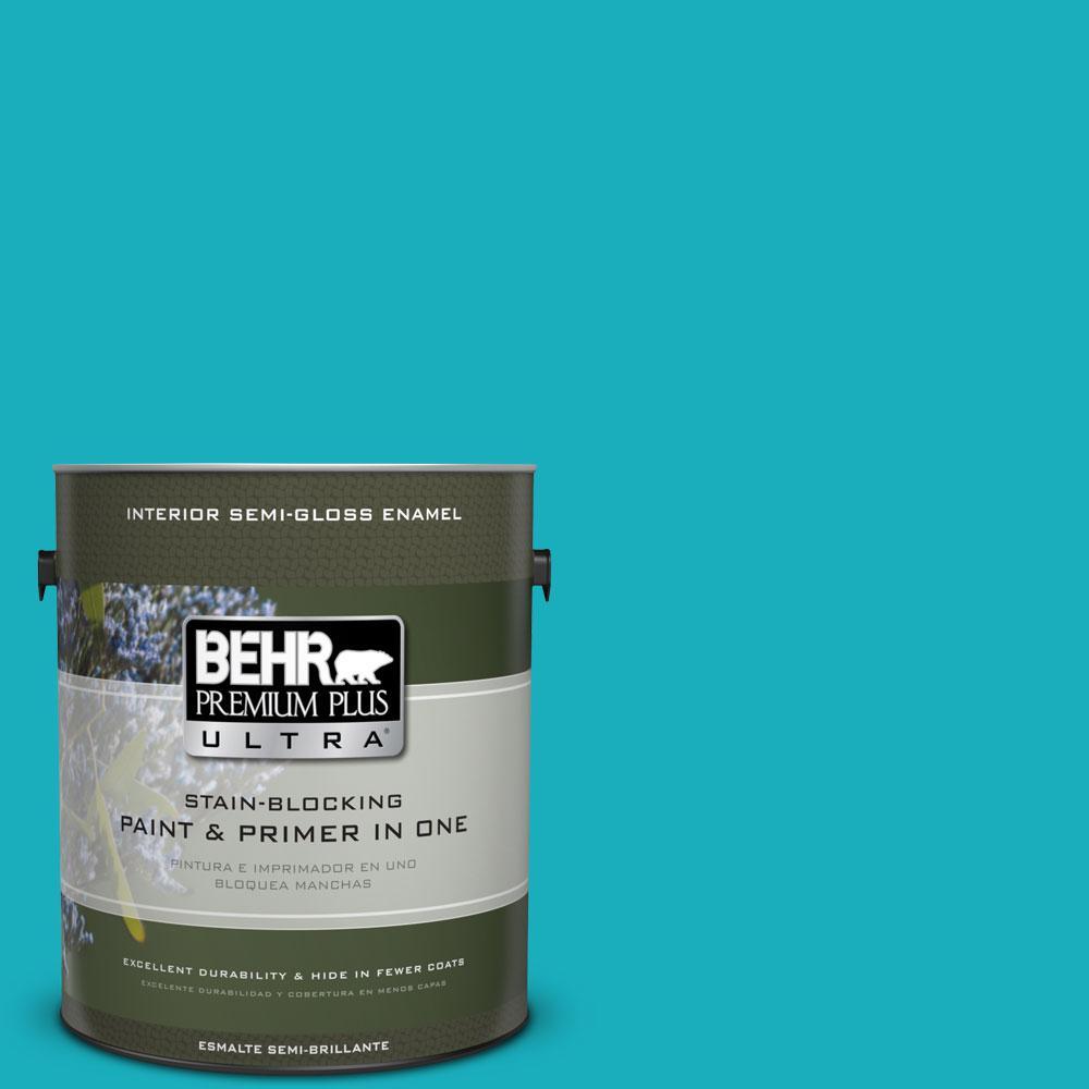 1-gal. #P470-5 Placid Sea Semi-Gloss Enamel Interior Paint