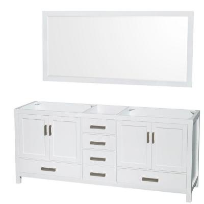 Sheffield 80 in. Double Vanity Cabinet with 70 in. Mirror in White