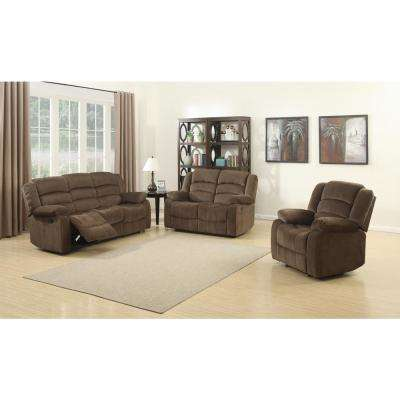 Bill Contemporary 3-Piece Brown Living Room Recliners Sofa