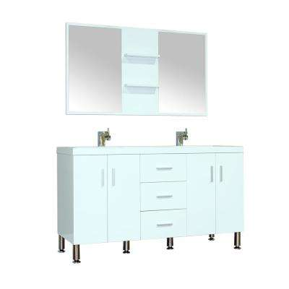 The Modern 56.5 in. W x 19.875 in. D Bath Vanity in White with Acrylic Vanity Top in White with White Basin and Mirror