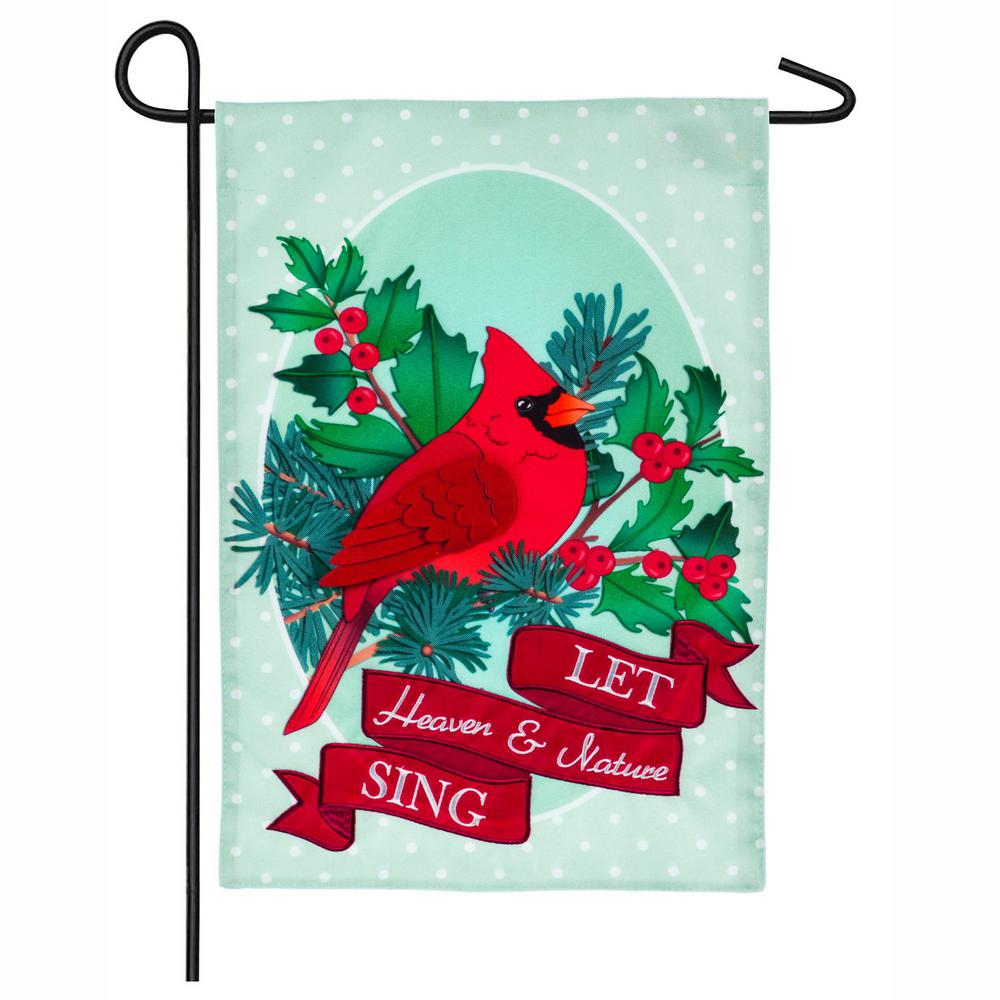 Evergreen 18 in. x 12.5 in. Heaven and Nature Cardinal Garden Linen Flag