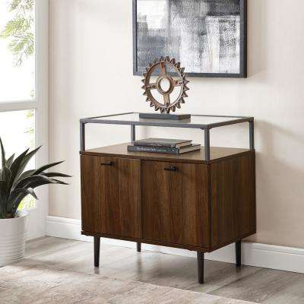 Modern Glass Top Dark Walnut 2-Door Nightstand