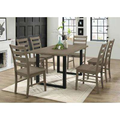 Madison 7-Piece Aged Grey Wood Dining Set