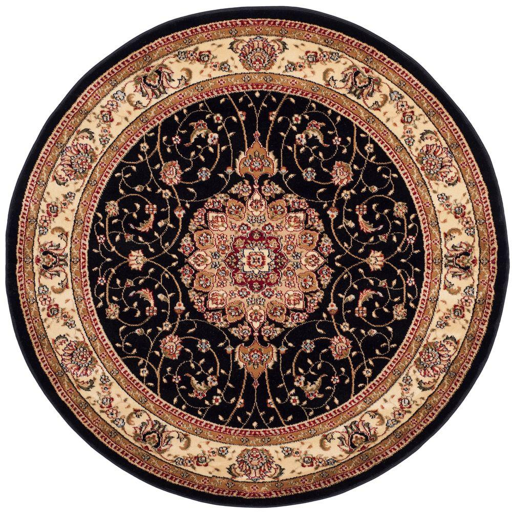 safavieh montauk black ivory 4 ft x 4 ft round area rug mtk712d 4r the home depot. Black Bedroom Furniture Sets. Home Design Ideas