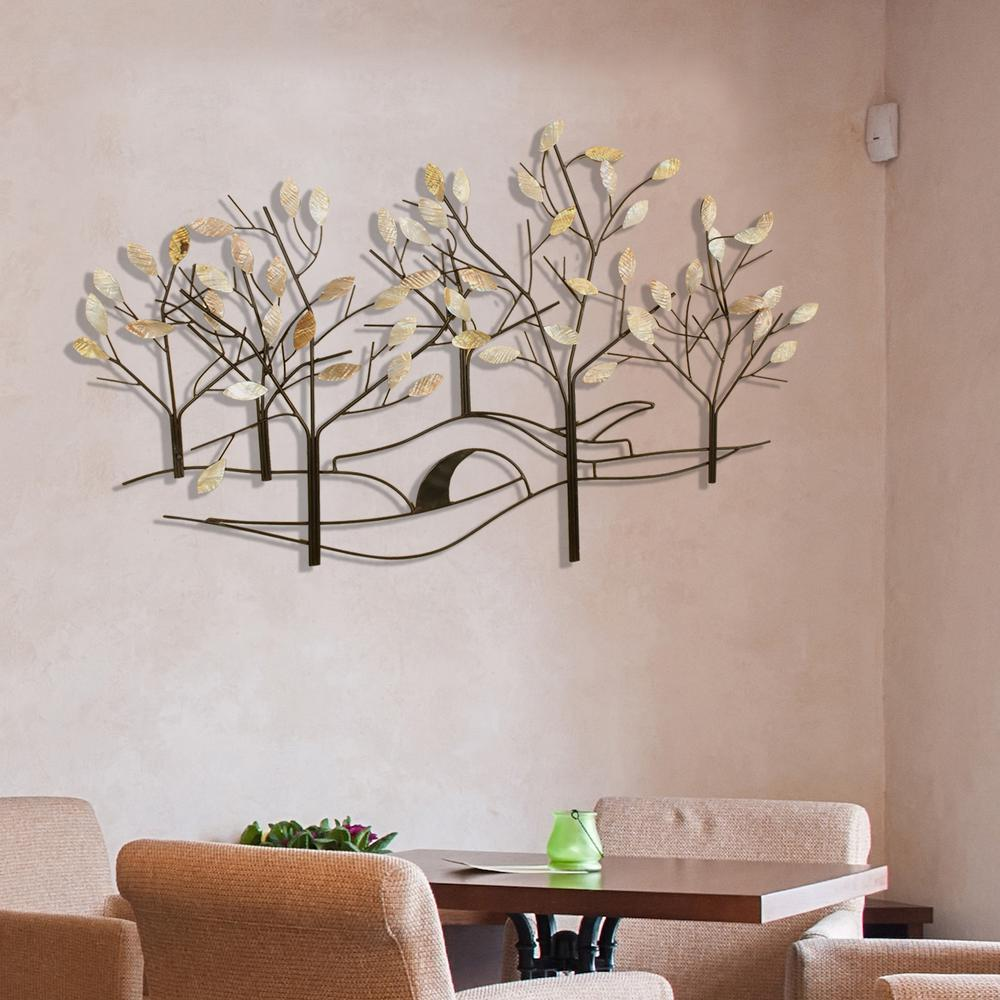 Sculpture Home Decor: Oil-Rubbed Bronze Tree-Lined Street Metal Work Wall Decor