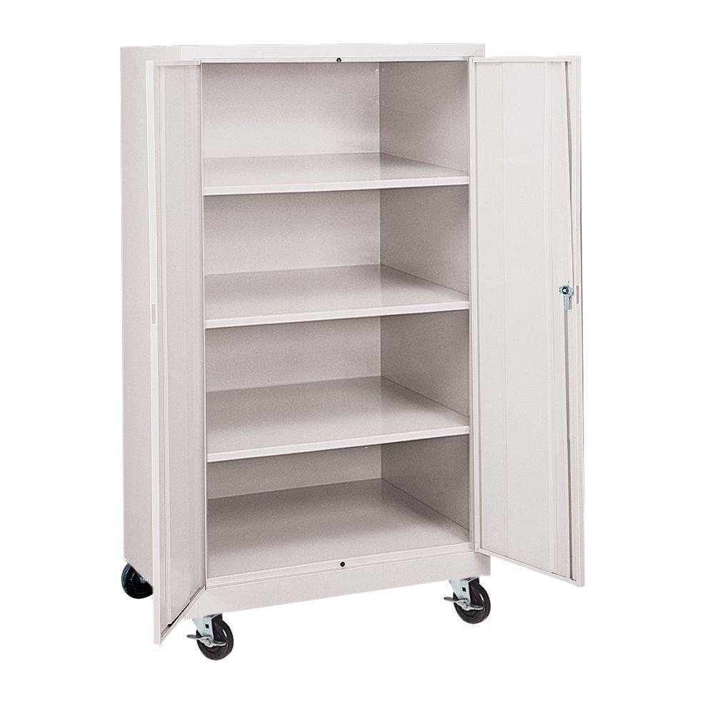 Sandusky 36 in. W x 66 in. H x 24 in. D Mobile Steel Cabinet in Dove Gray