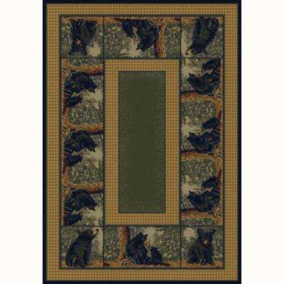 Bear Family Green 7 ft. 10 in. x 10 ft. 6 in. Contemporary Lodge Area Rug