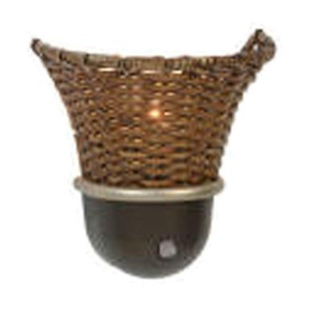 Amerelle Automatic Night Light in Rattan Shade-DISCONTINUED