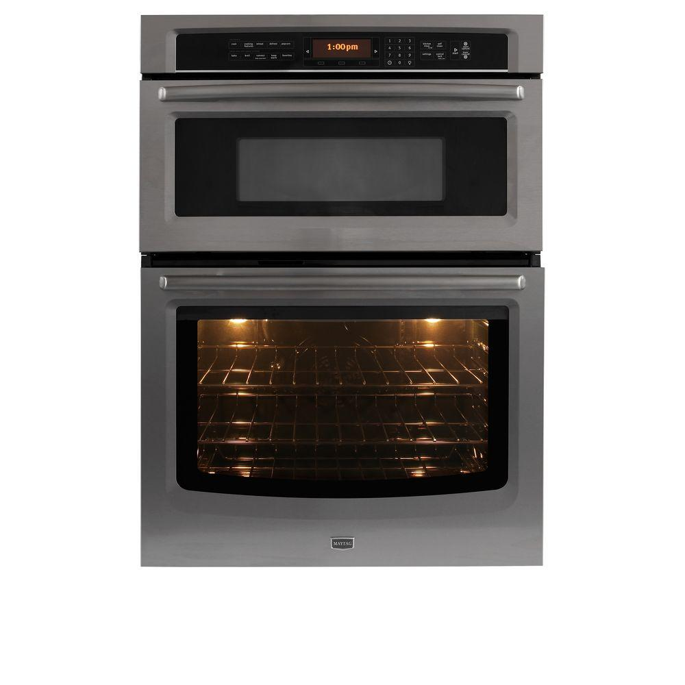 Maytag 30 in. Electric Convection Wall Oven with Built-In Microwave in Stainless Steel