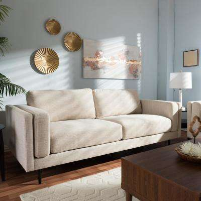 Brittany Contemporary Light Beige Fabric Upholstered Sofa