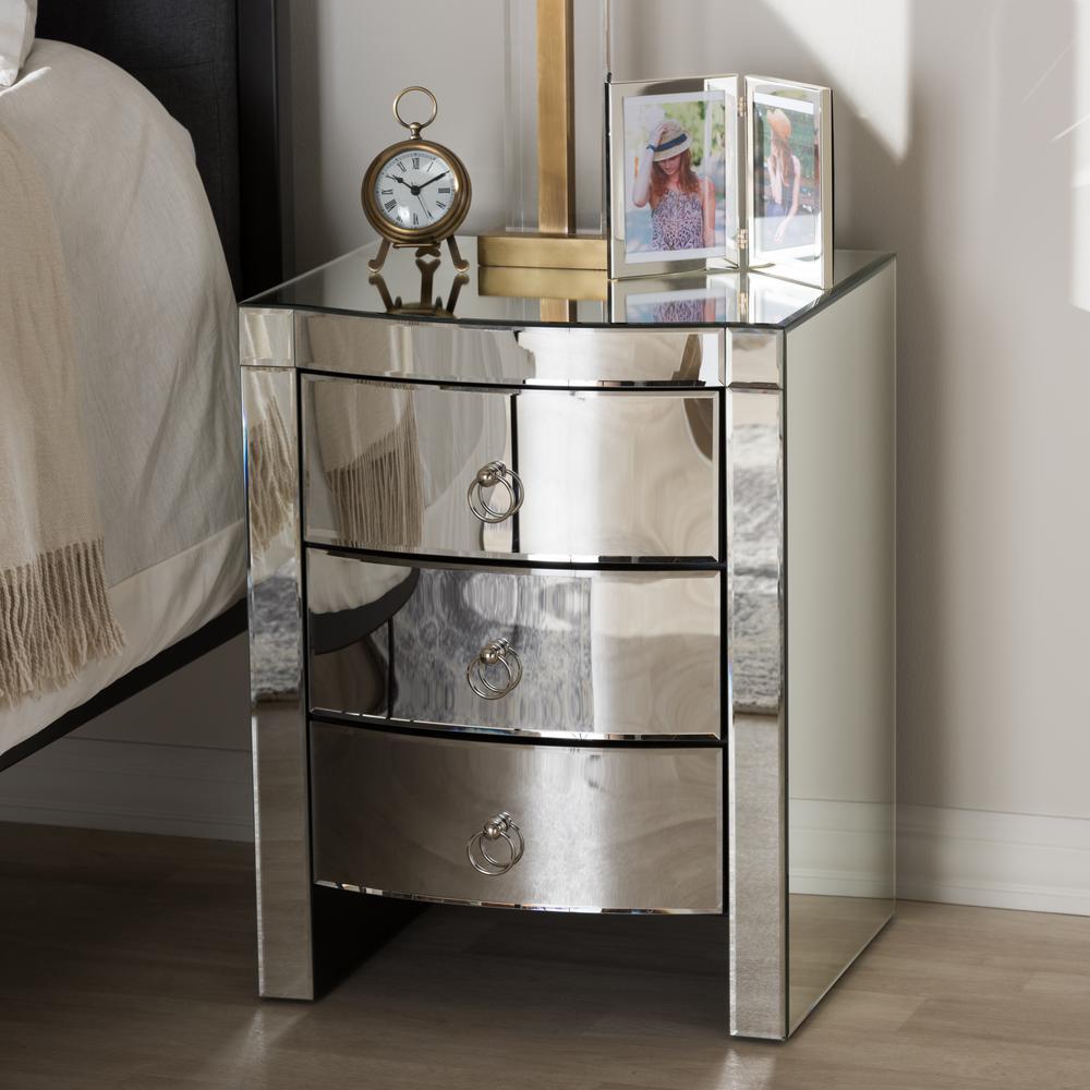 Florence 3-Drawer Silver Metallic Nightstand
