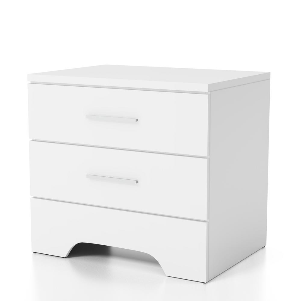 Honel 2-Drawer White Nightstand