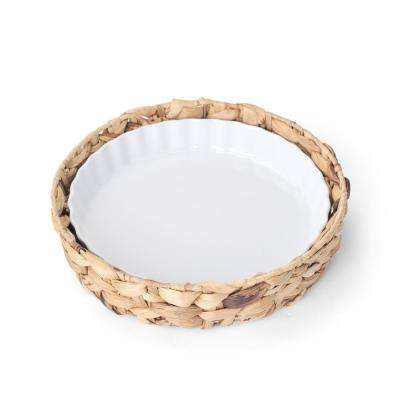 Quiche Porcelain Dish with Water Hyacinth Tray