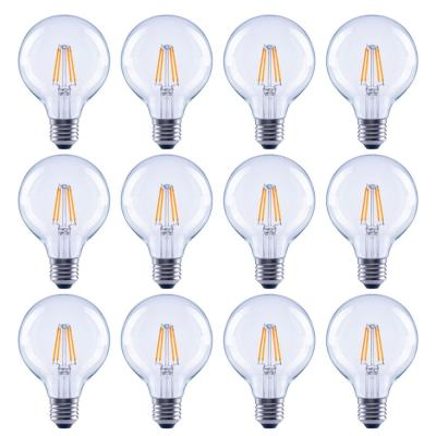 60-Watt Equivalent G25 Globe Dimmable Clear Glass Filament Vintage Style LED Light Bulb Daylight (12-Pack)