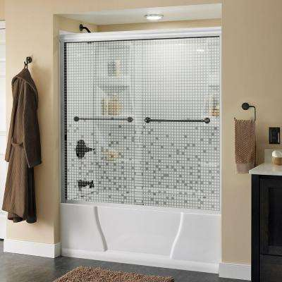 Mandara 60 in. x 56-1/2 in. Semi-Frameless Sliding Bathtub Door in White with Bronze Handle and Mozaic Glass