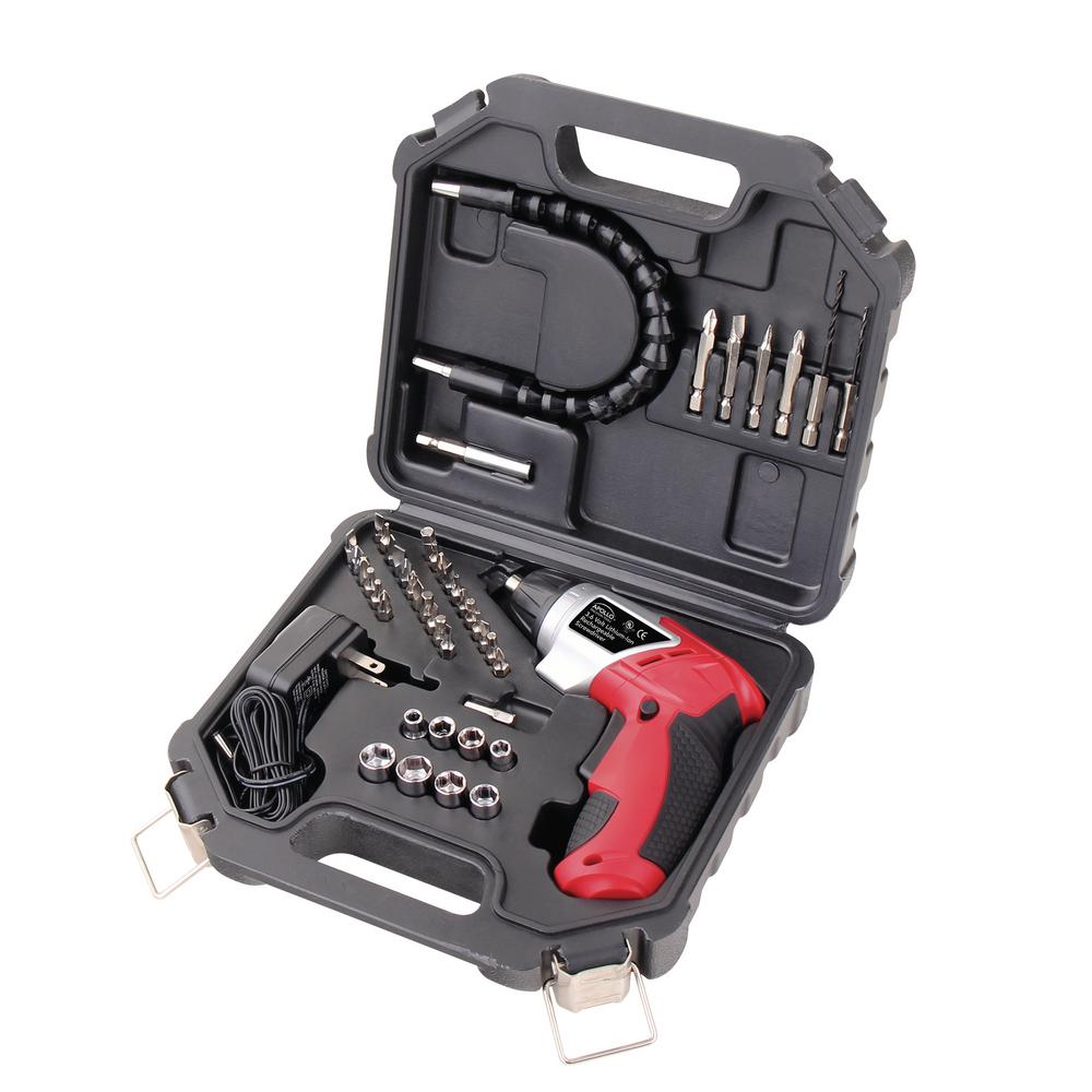 Apollo 1.4 in. 3.6-Volt Lithium-Ion Rechargeable Cordless Electric Screwdriver with 45-Piece Accessory Set