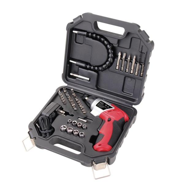 1.4 in. 3.6-Volt Lithium-Ion Rechargeable Cordless Electric Screwdriver with 45-Piece Accessory Set