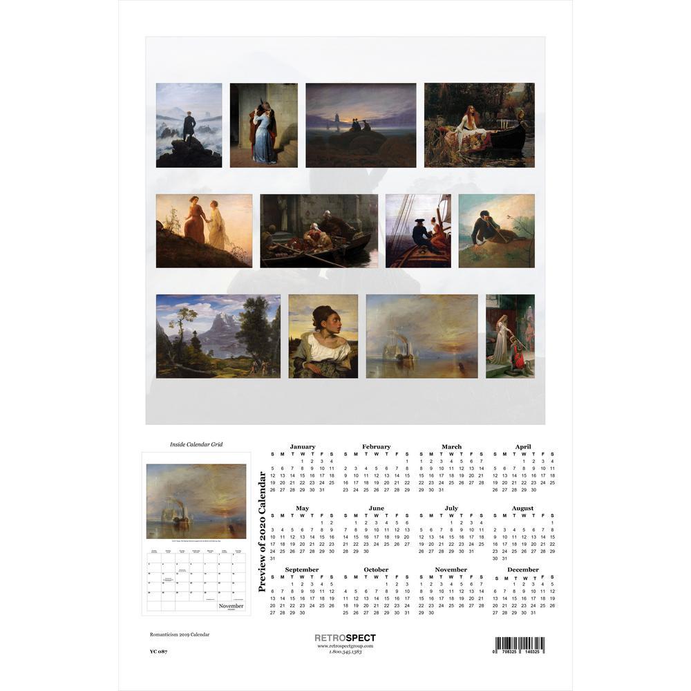 19 in. H x 12.5 in. W Romanticism - 2019 Calendar