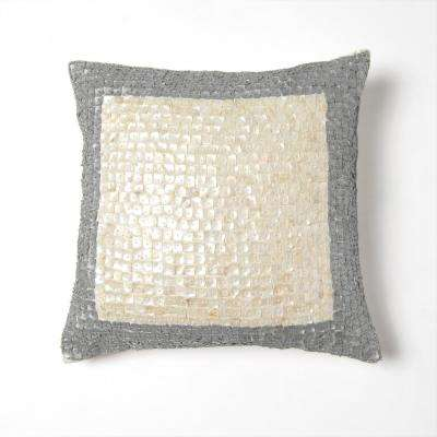 Bordered Mother of Pearl Silver Pillow