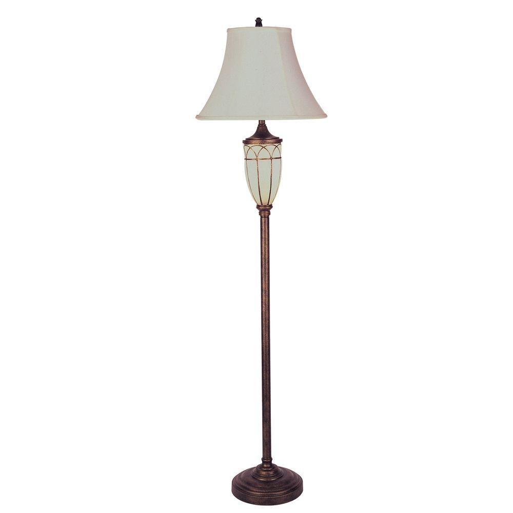 Ore International 64 In Antique Brass Floor Lamp With