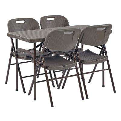 5-Piece Brown Rattan 48 in. x 24 in. Plastic Folding Table/Tray and 4-Chair Set
