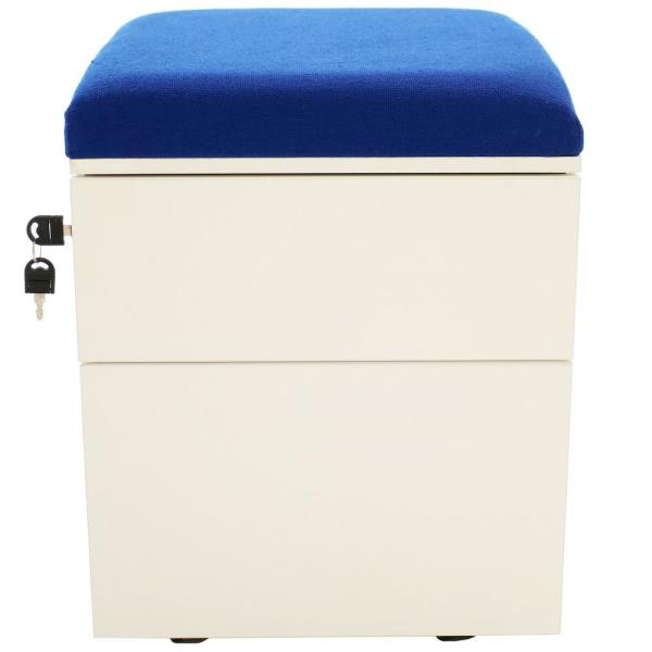 CASL Brands 2-Drawer Wheeled White Storage Cabinet with Blue Cushion LUM-657-BLU