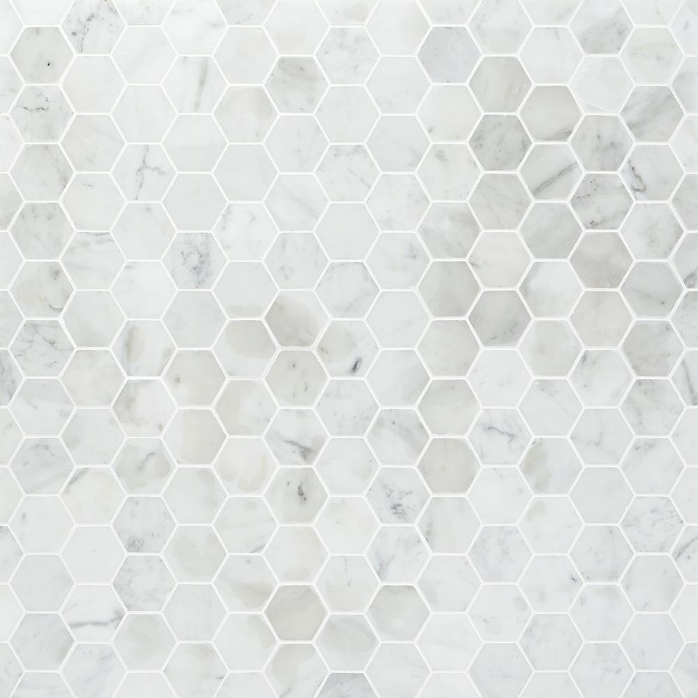Ivy Hill Tile Hexagon White Carrera 12 In. X 12 In. X 8 Mm