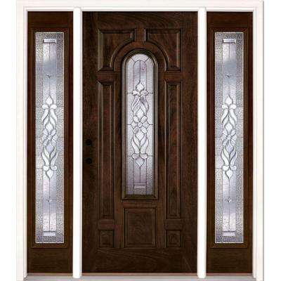 63.5 in. x 81.625 in. Lakewood Zinc Stained Chestnut Mahogany Right-Hand Fiberglass Prehung Front Door with Sidelites