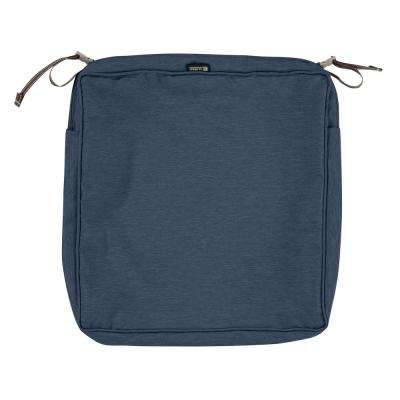 Montlake Fade Safe Heather Indigo 17 in. Square Outdoor Seat Cushion Cover