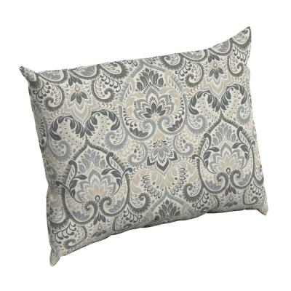 Neutral Aurora Damask Rectangle Outdoor Throw Pillow