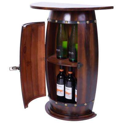 Wooden Wine Barrel Console Bar End Table Lockable Cabinet