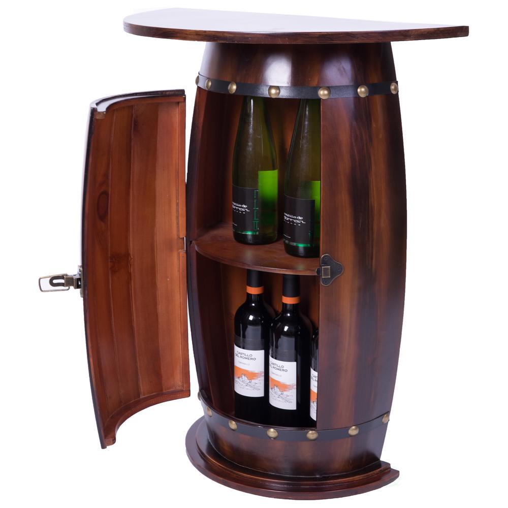 Wooden Wine Barrel Console Bar End Table Lockable Cabinet