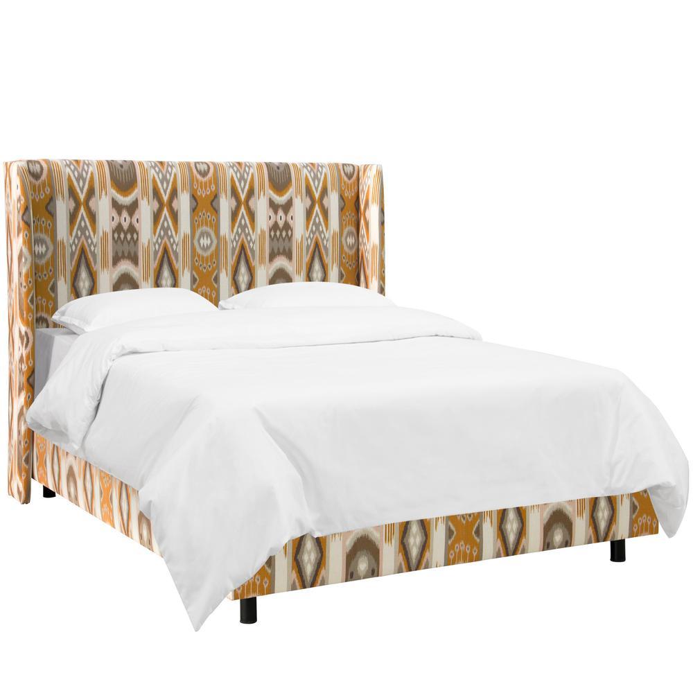 skyline furniture wingback bed | Skyline Furniture Jetsetter Cognac King Wingback Bed ...
