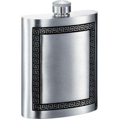 6 oz. Kalos Greek Design Pewter Liquor Flask