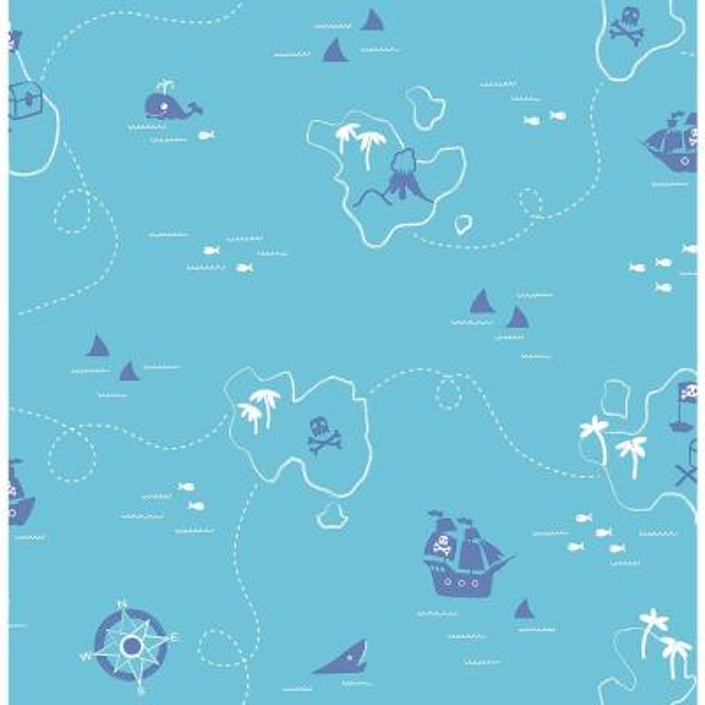 Teal Sharks Map Wallpaper Sample