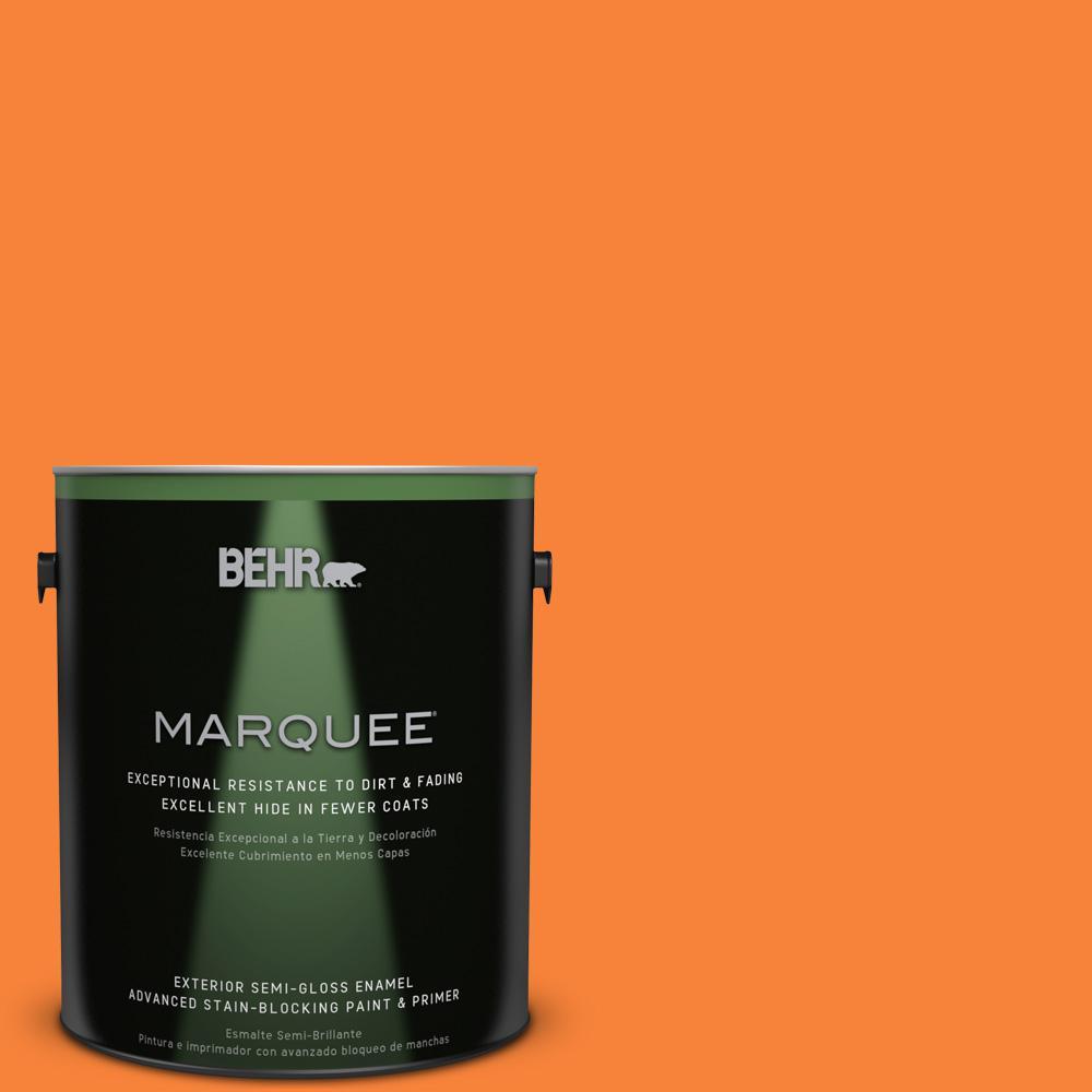 BEHR MARQUEE 1-gal. #230B-6 Orange Burst Semi-Gloss Enamel Exterior Paint
