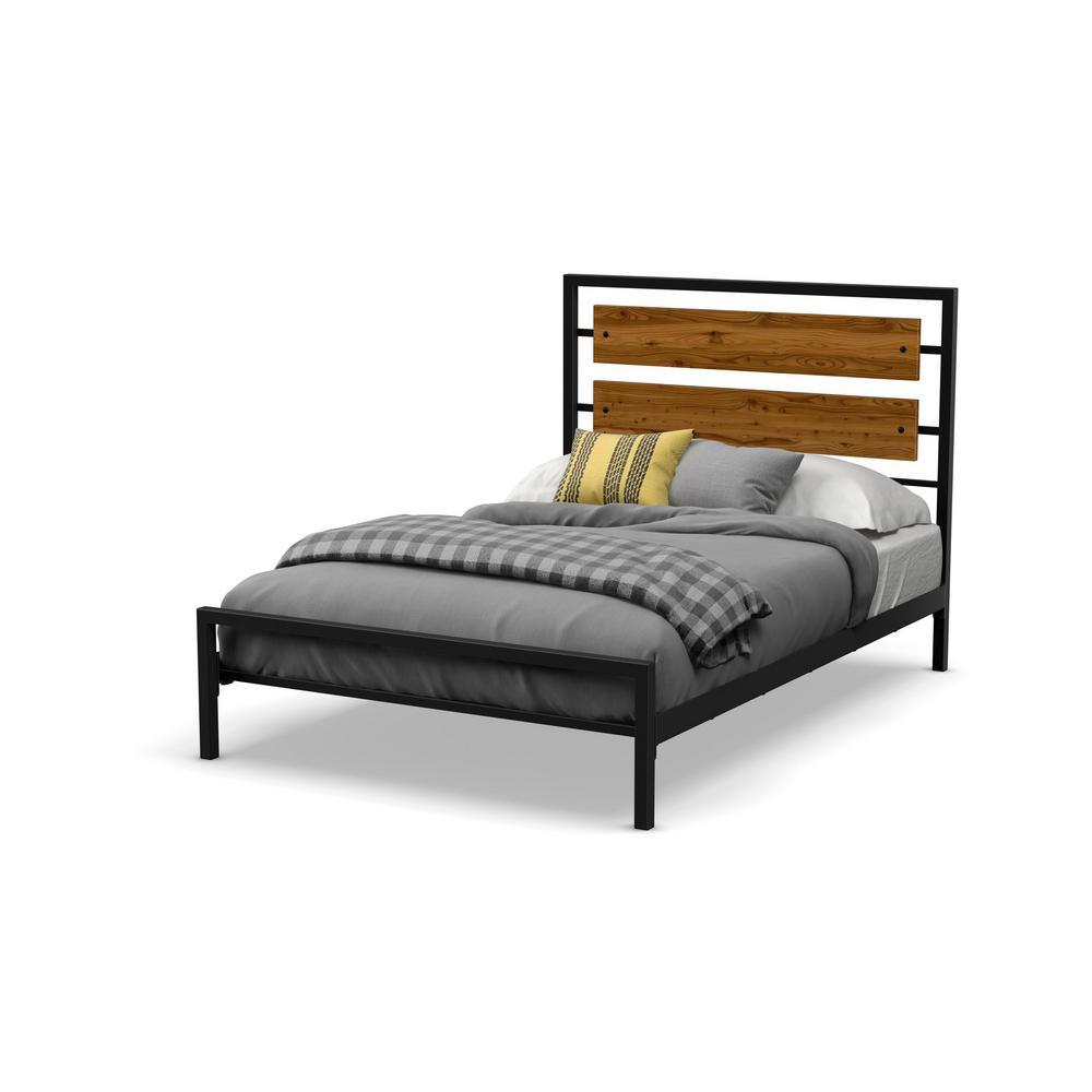 Fargo Textured Black Metal Brown Wood Queen Size Bed 14393-60/2587