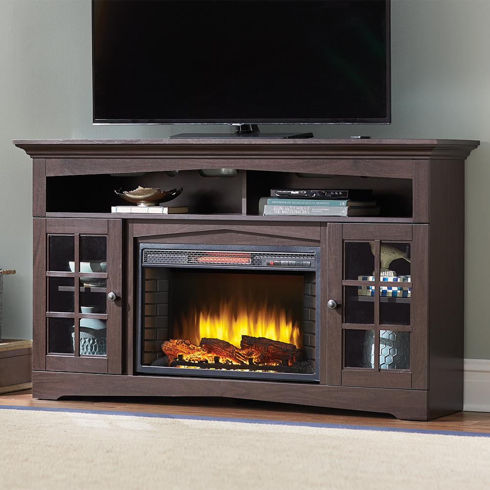 Elevate the look of your residence by using this Home Decorators Collection Avondale Grove Media Console Infrared Electric Fireplace in Aged White.