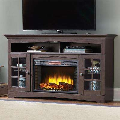 TV Stand Infrared Electric Fireplace In Espresso