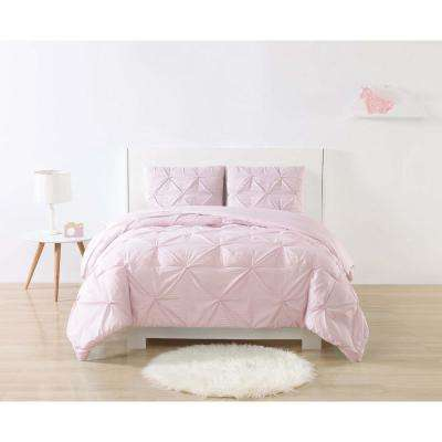 Anytime Stripe Pinch Pleat Pink Twin Extra Long Comforter Set
