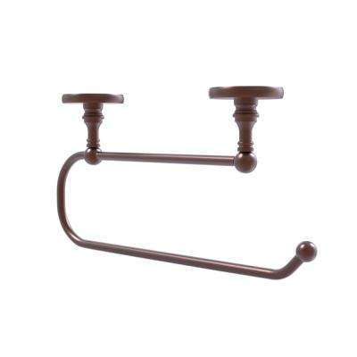 Skyline Collection Under Cabinet Double Post Toilet Paper Holder in Antique Copper