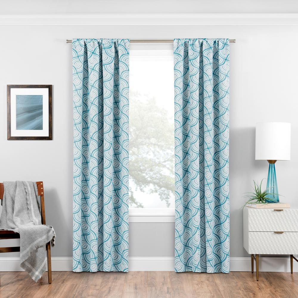Eclipse Benchley Blackout Window Curtain Panel in Teal - 37 in. W x 84 in. L