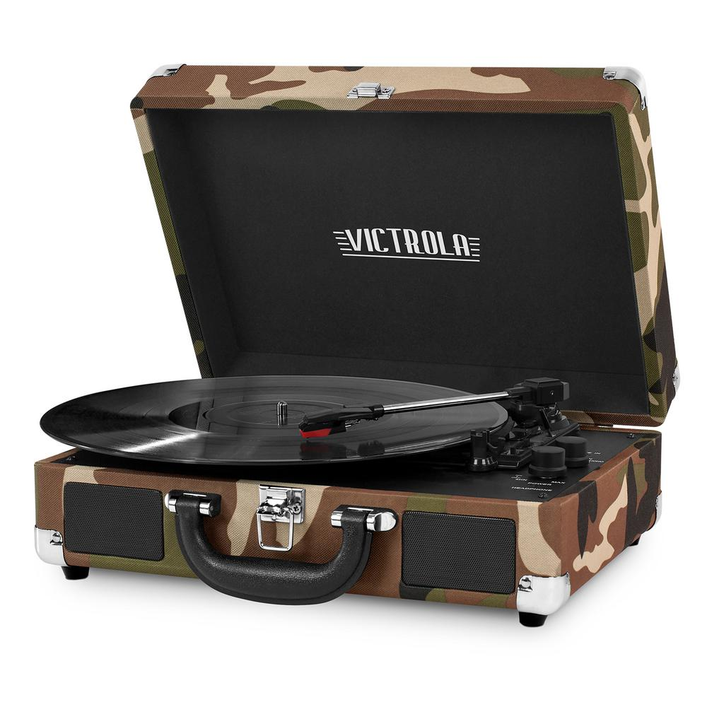 Innovative Technology Bluetooth Suitcase Record Player with 3-Speed Turntable