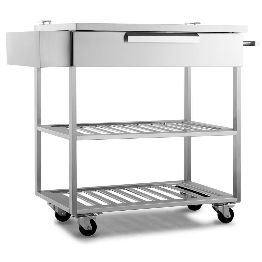 NewAge Products Stainless Steel Classic 32x33.6x24 in. Outdoor Kitchen Mobile Bar Cart