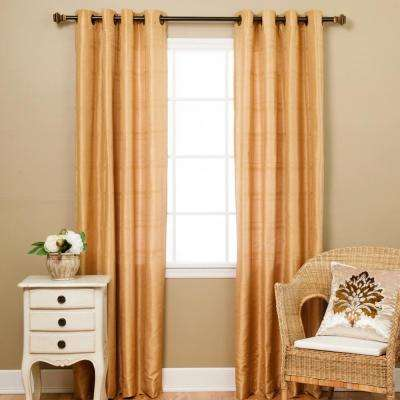 84 in. L Gold Faux Silk Chenille Check Curtain Panel (2-Pack)
